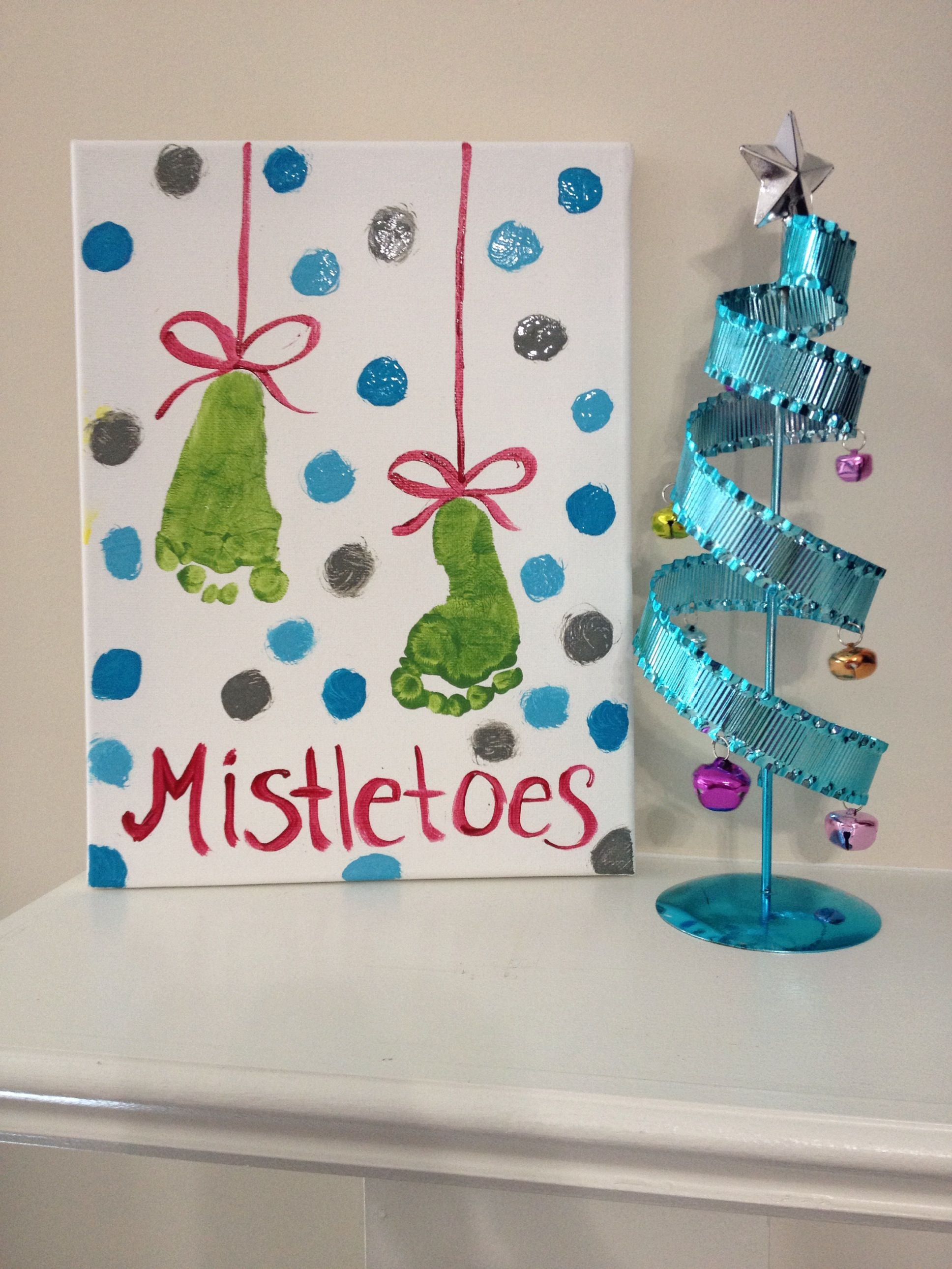 Christmas Crafts Diy Painting Mistletoes Baby Feet Footprints Diy Christmas Paintings Christmas Crafts Crafts