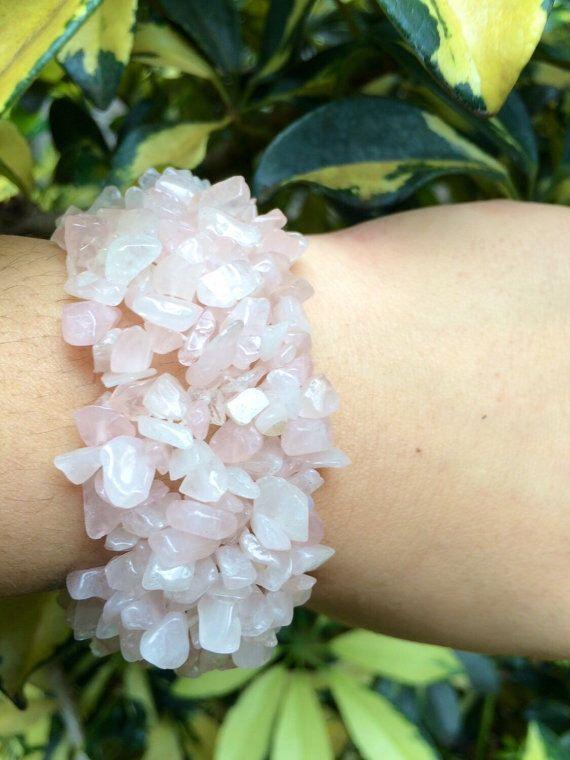 ΔΔ Raw Rose Quartz Stretchy Cuff Bracelet ΔΔ by GrizzyLove on Etsy https://www.etsy.com/listing/264612793/dd-raw-rose-quartz-stretchy-cuff
