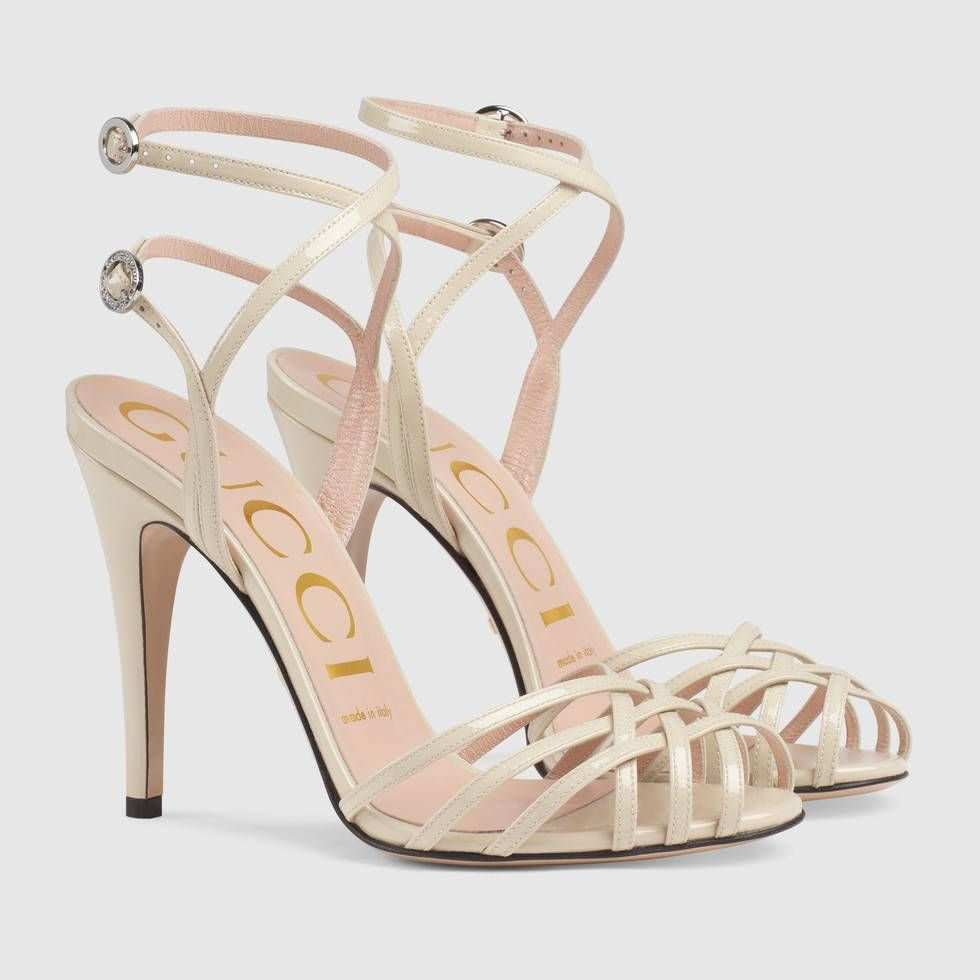 90bde2e74a0 Patent leather sandal in Vintage white patent leather