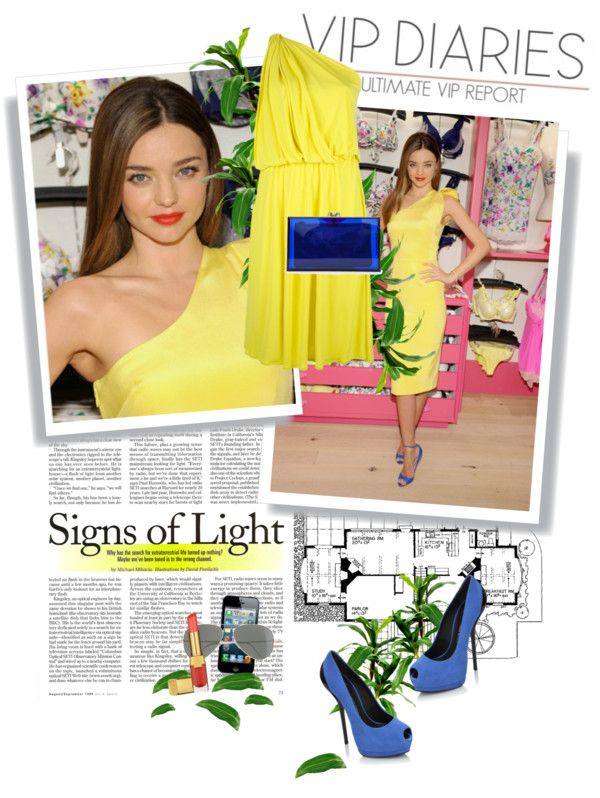 """Miranda Kerr: yellow and cobalt"" by tracey-mason ❤ liked on Polyvore"