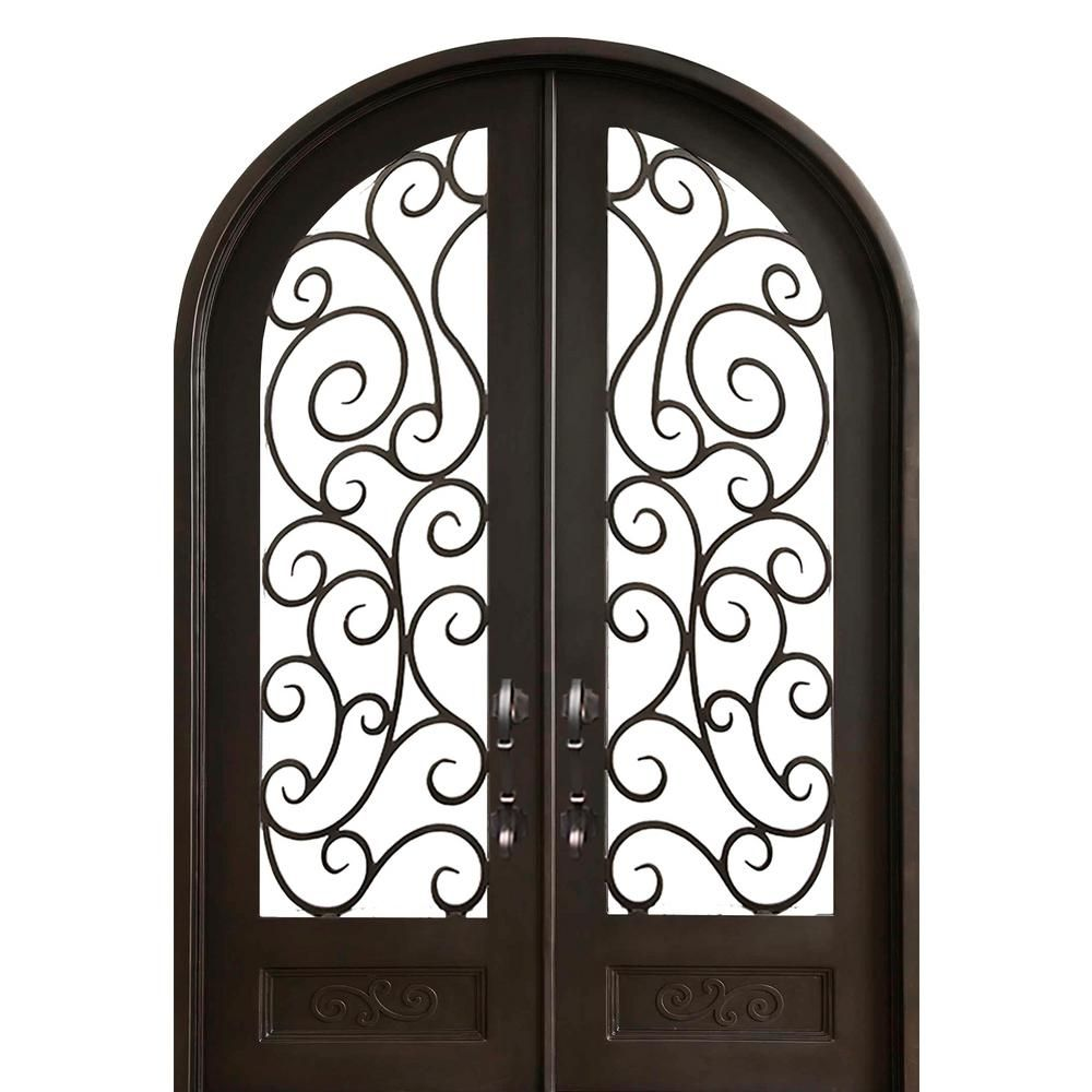 Florida Iron Doors 72 In X 96 In Lauderdale Full Arch Right Hand Inswing Painted Iron Prehung Front Door With Clear Glass And Hardware D Products Iron