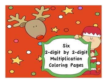 Christmas 2 digit by 2 digit Multiplication Coloring Pages