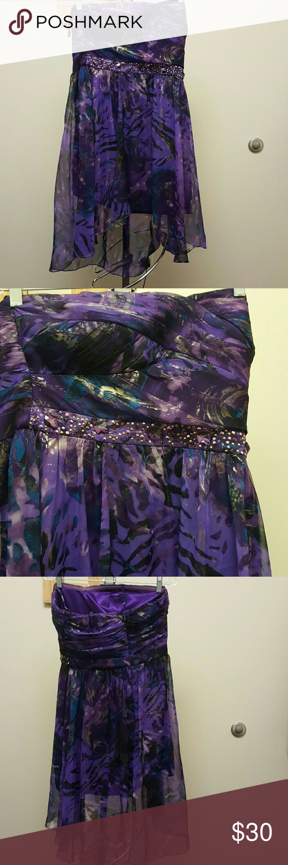 Prom /sweet 16 dress Beautiful chiffon short in front longer in back purple print with sequin at waste gorgous Jump Dresses Prom