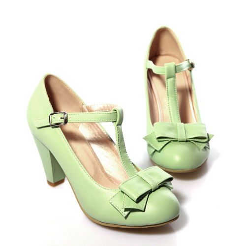 Vogue Cute Bowknot Womens Block High Heels T-Strap Pumps Mary Janes Retro Shoes $26.99