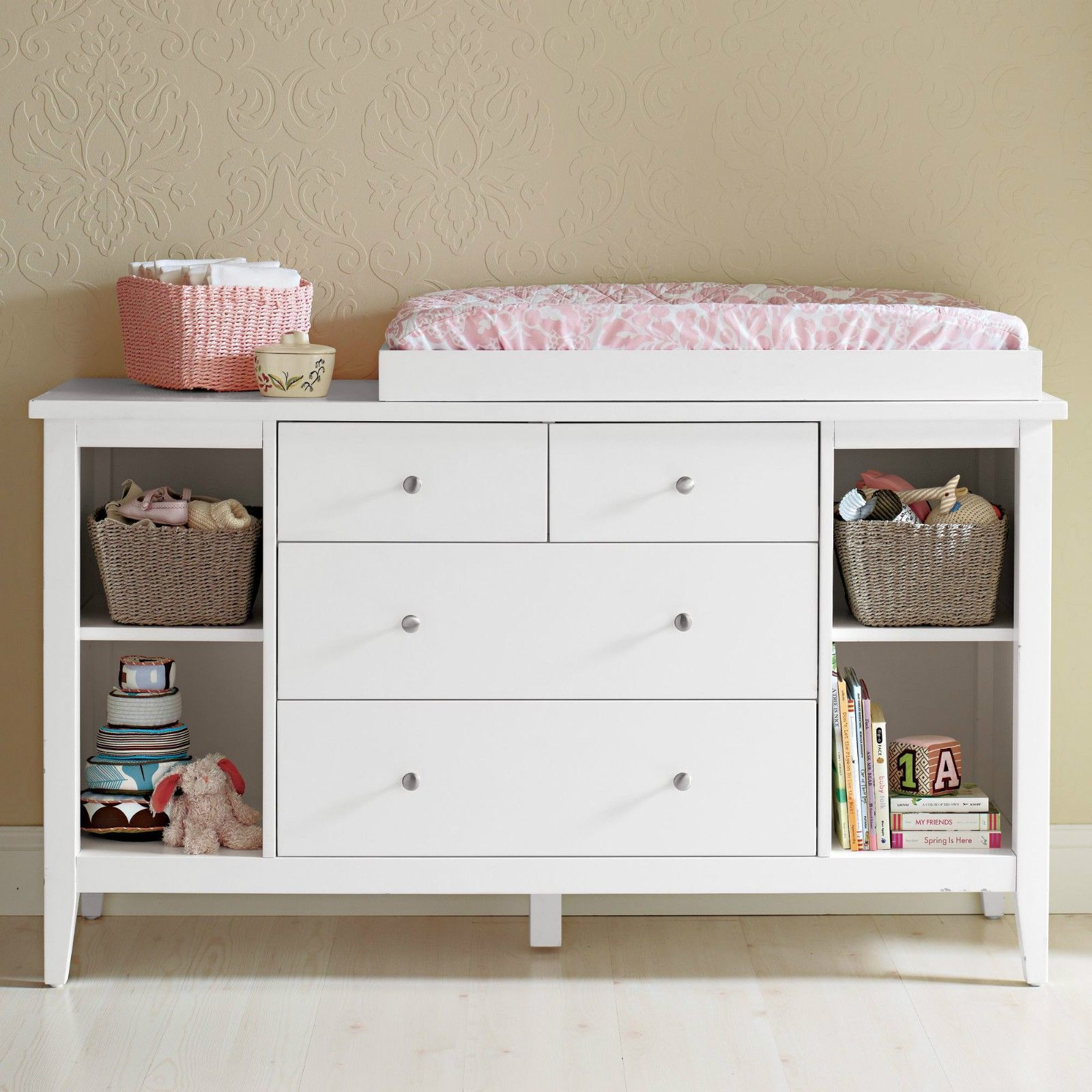 Furniture, Custom Modern Baby Changing Table With Rattan Toy ...