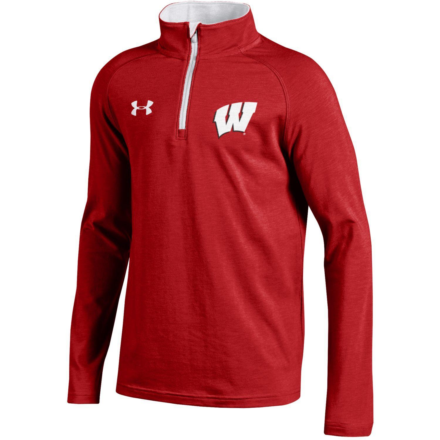 30db4ace Wisconsin Badgers Under Armour YOUTH Red Lightweight Loose 1/4 Zip Pullover