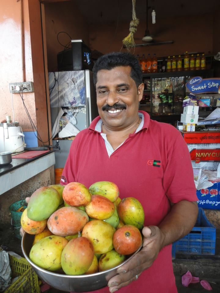 Mangoes at a fruit stand in Kerala, India.