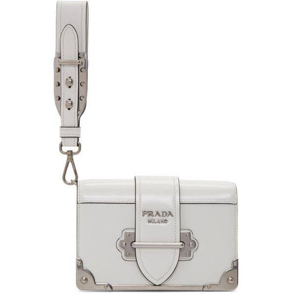 22670a3d995b clearance prada white cahier clutch 1945 liked on polyvore featuring bags  handbags a70f1 6eb73