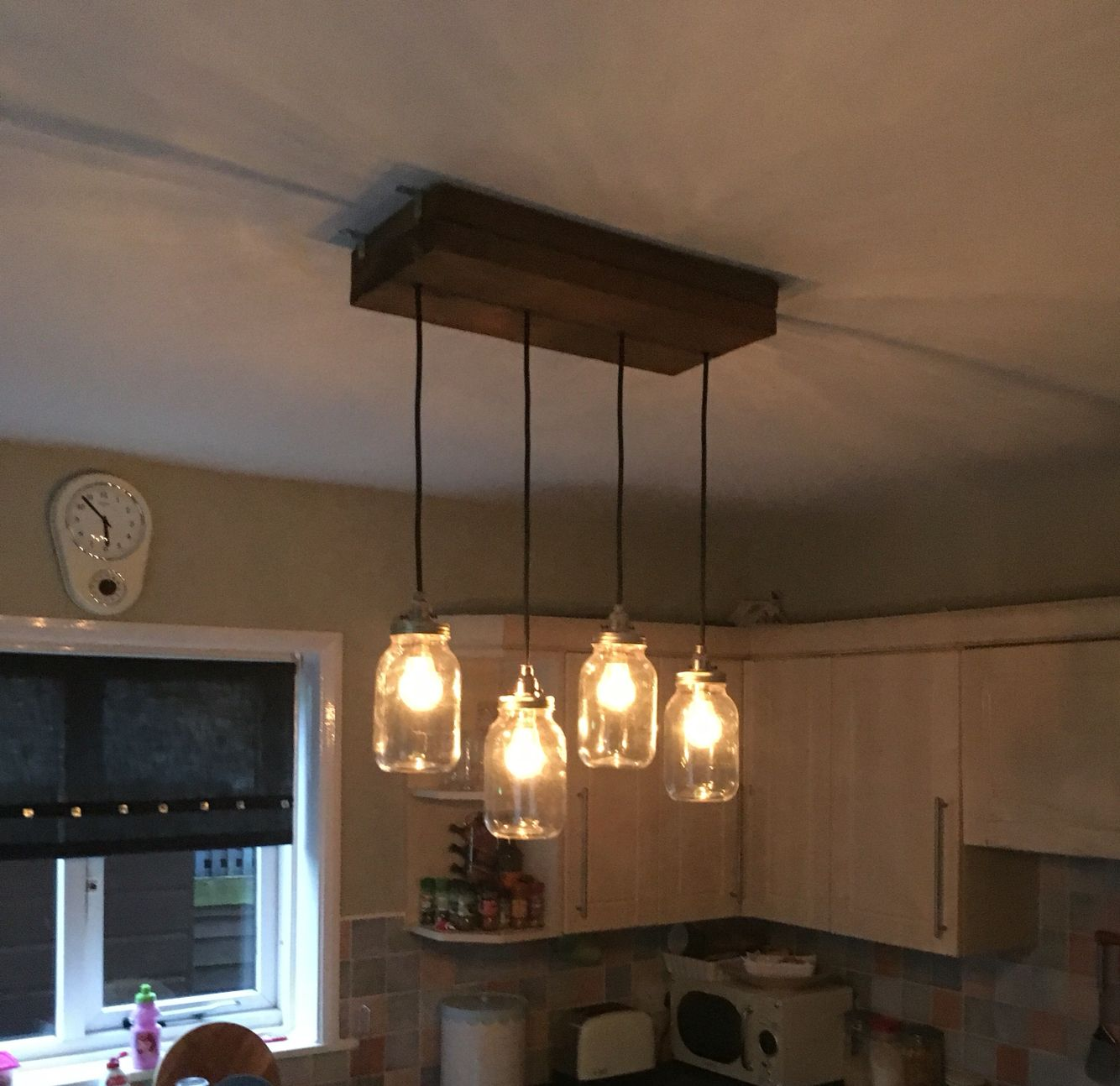 Diy Kitchen Light Fitting Scaffolding Board Kilner Jars