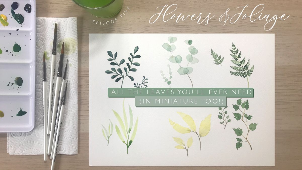 Youtube watercolour tutorial to paint all the watercolour leaves you'll ever need. Learn how to paint ferns, watercolour eucalyptus, sprigs and branches of all types. #watercolourleaves #watercolour #watercolourillustration #watercolourtutorial #watercolourflowers #seasonalliving #dewintonpaperco