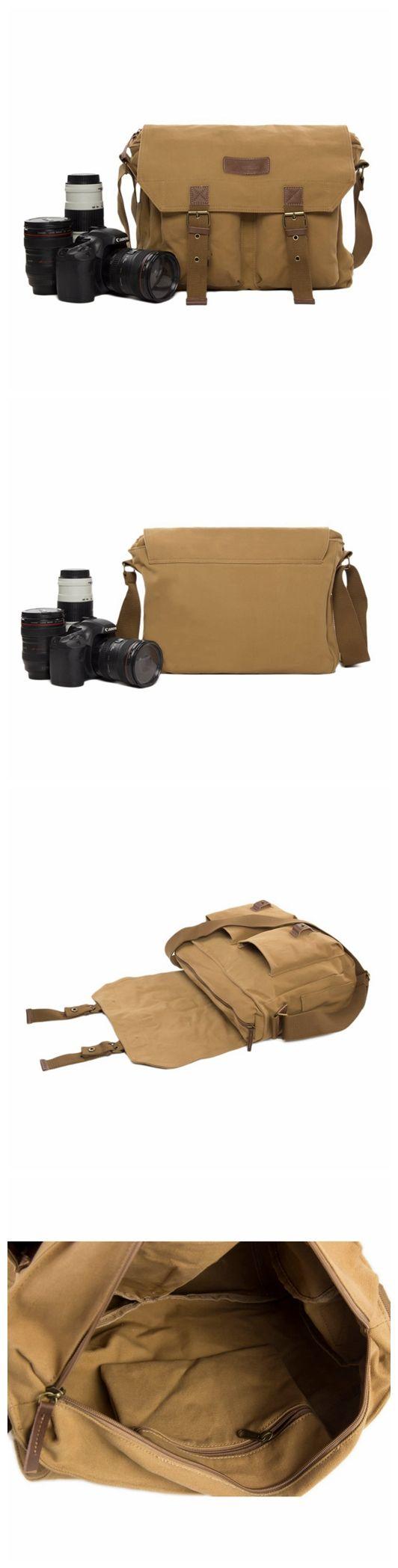 Flash Sale Khaki Canvas DSLR Camera Bag, Professional SLR Camera Purse Fit Canon Nikon F1003 #camerapurse