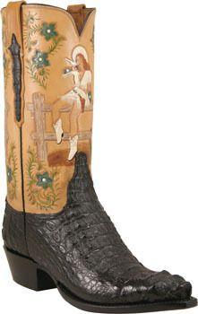 63dbd60b53c Mens Lucchese Classics Black Hornback Caiman Crocodile Custom Hand ...