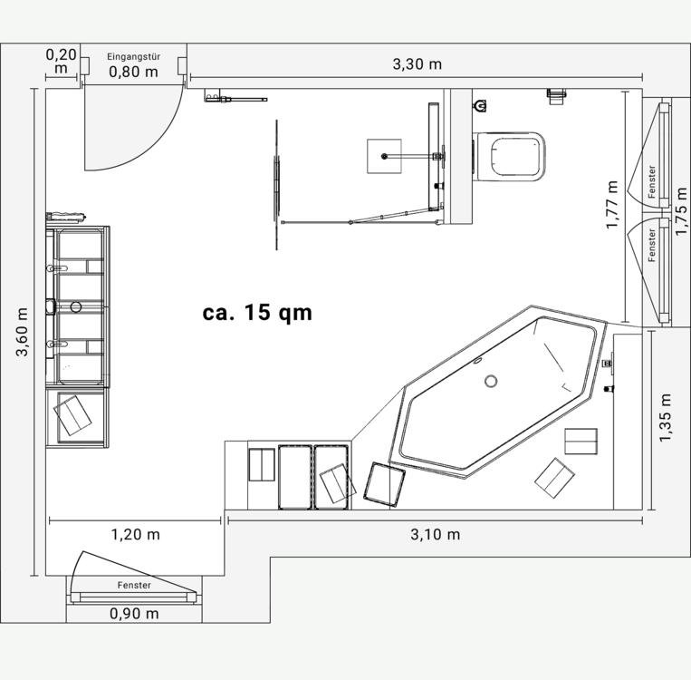 Frieling Das Bad Mit Dachschragen 15 Qm In 2020 Badezimmer Grundriss Bad Grundriss Badezimmer Qm