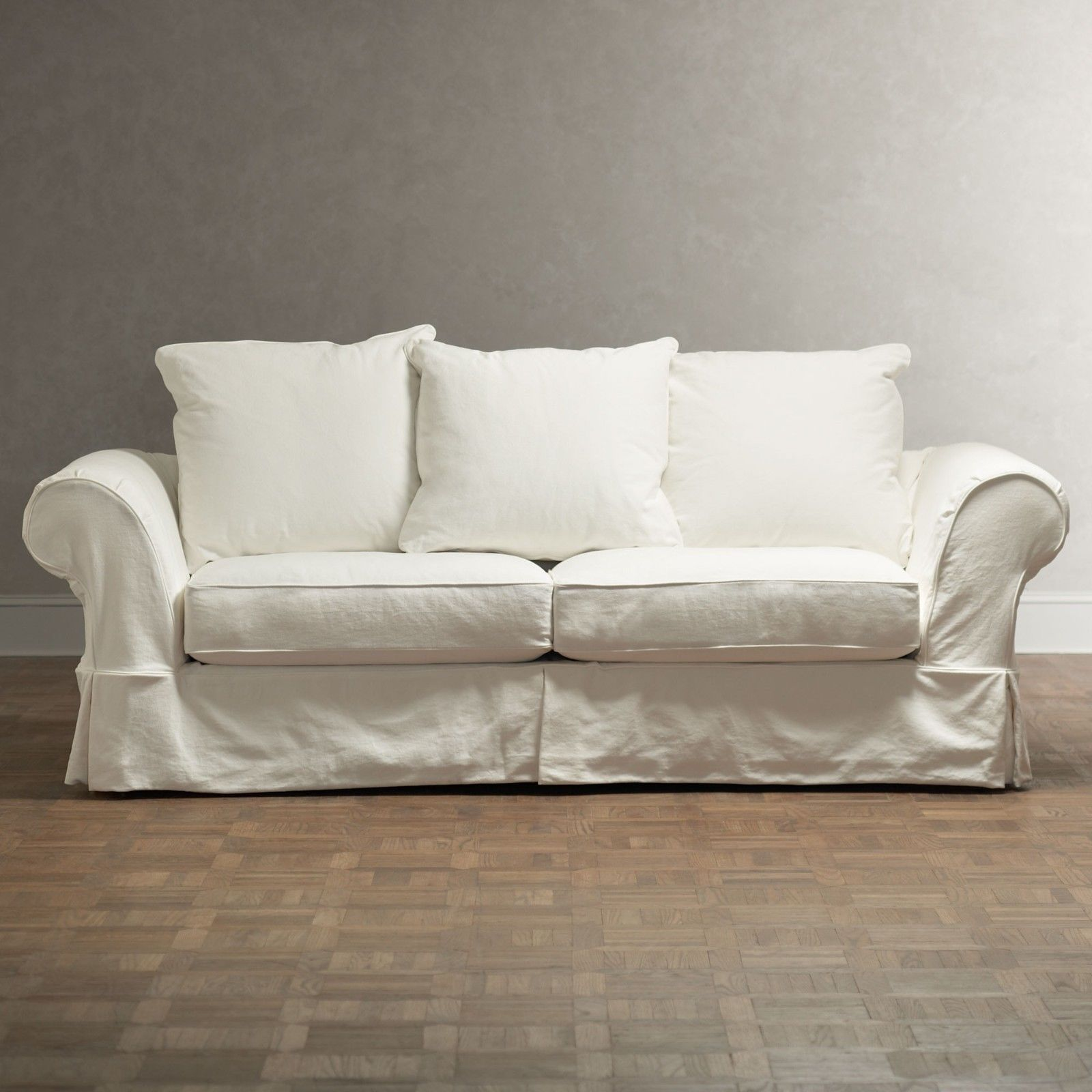 Chic Shabby French Style White Twill Sofa 64 W X 38 D X 35 H In