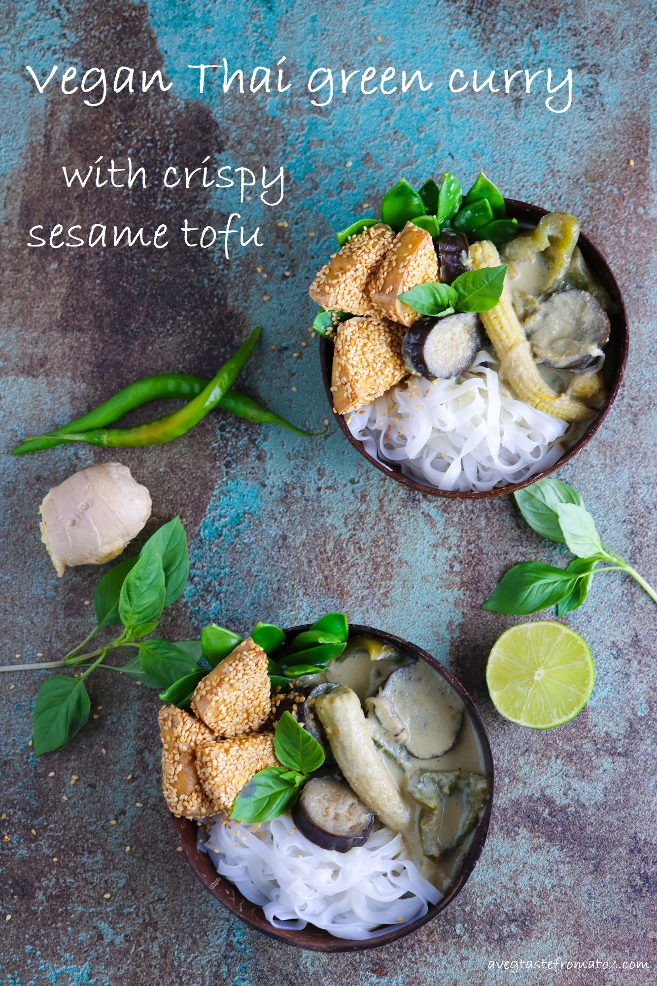 Thai Green Curry with Sesame Tofu My take on a classic Thai Green Curry with Crispy Sesame Tofu and Rice Noodles.