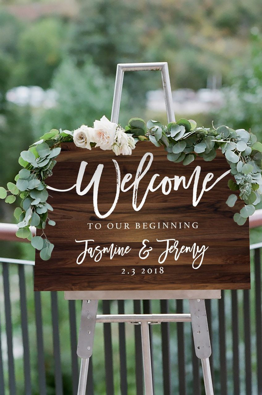 Wedding decorations to take abroad  Timber Welcome Sign DIY Print  SIGNS  Pinterest  Wedding