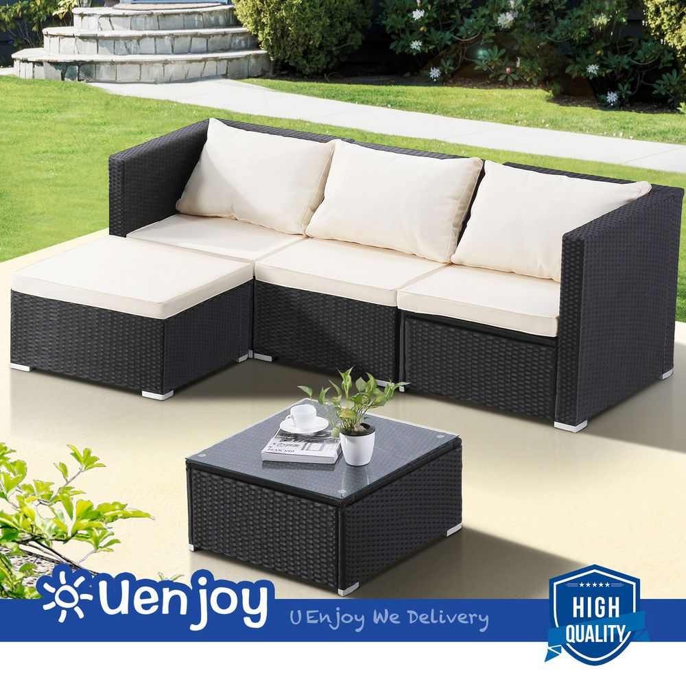 Details About 5 Pcs Outdoor Wicker Rattan Patio Sofa Set Garden