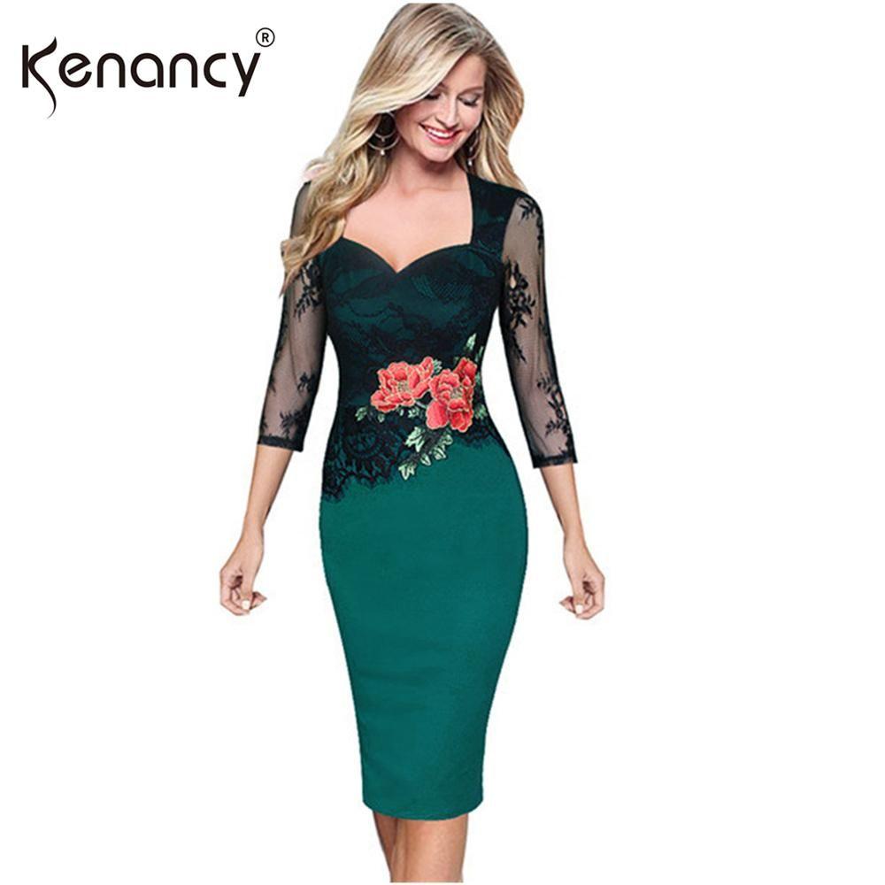 6197e5b0e1 Kenancy 5XL Plus Size Elegant Patchwork Lace Floral Embroidery ...