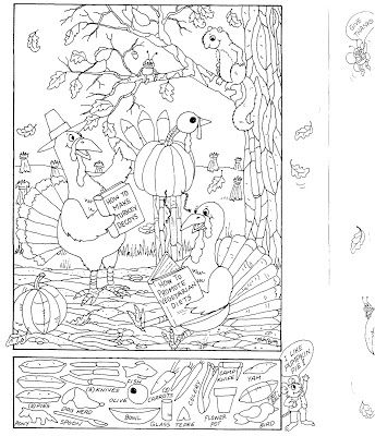 visual perception coloring page and hidden picture puzzle for thanksgiving