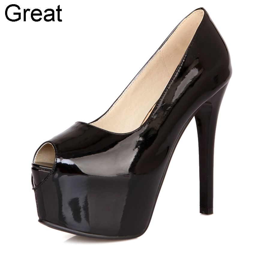 (Buy here: http://appdeal.ru/1wm7 ) 2016 New Big Size 32-42 Peep Toe Black White Apricot Red Fashion Sexy Wedding Party High Heels Platform Women Lady Pumps D1018 for just US $47.98