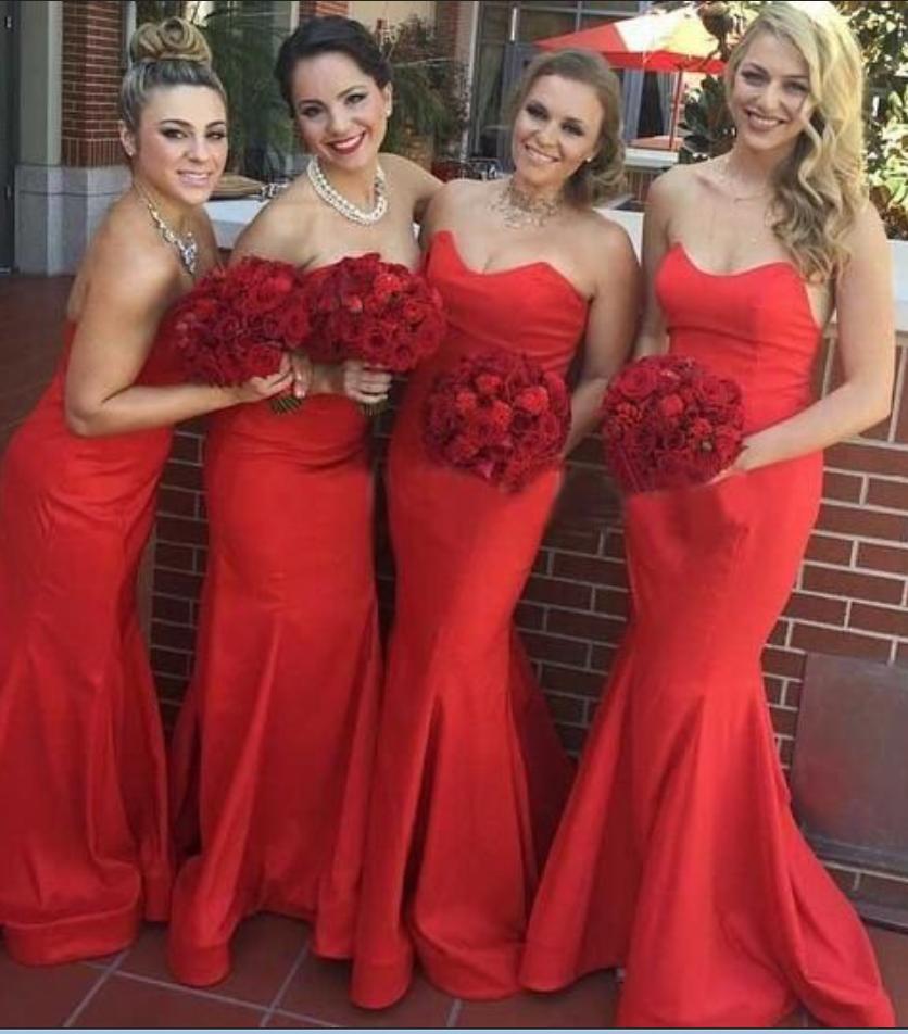 Red bridesmaid dress long bridesmaid dress mermaid bridesmaid