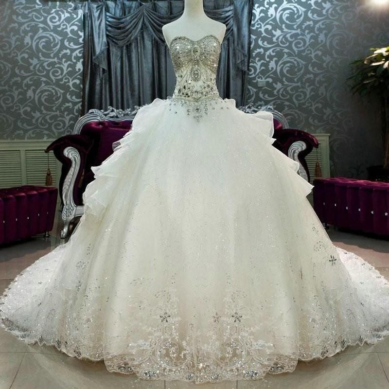 Cathedral Train Wedding Dresses Luxury Crystal Beaded Sweetheart Bling  Bling Ball Gown Wedding Gown 76a049c41f7c