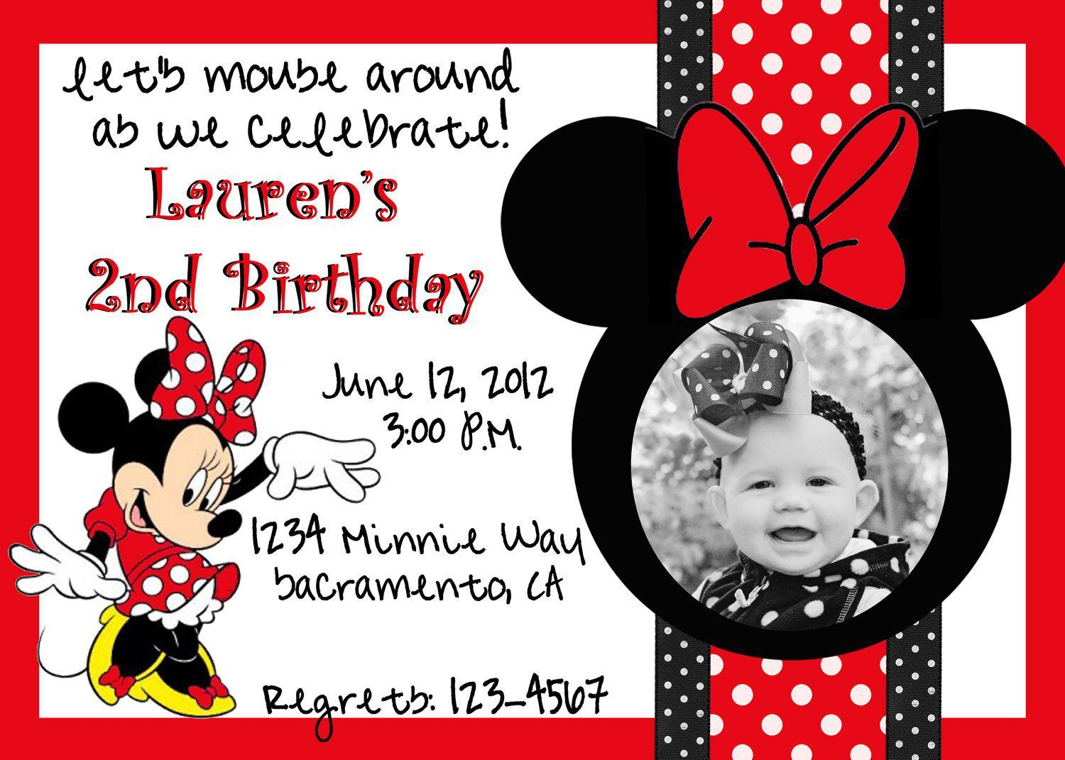 Minnie Mouse Birthday Invitations Red