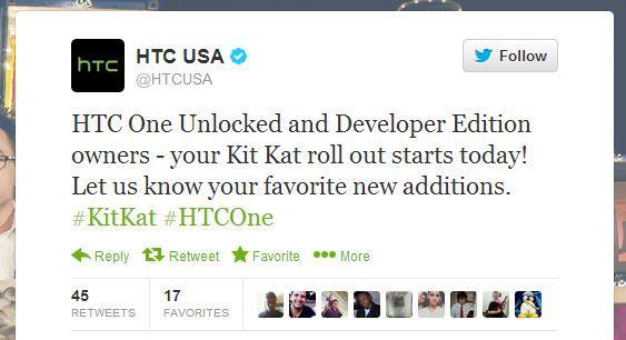 #جيكس_العرب نسخة المطورين المفتوحة من إتش تي سي وان (HTC One) تحصل علي كيت كات  قالت إتش تي سي أمريكا في تغريده علي الحساب الرسمي لها علي تويتر أن تحديث أندرويد 4.4 المعروف بإسم الكيت كات (KitKat) و أيضا الحساس 5.5 (Sense 5.5) سوف يأتي لهذا الجهاز أولاً.  #أخبار