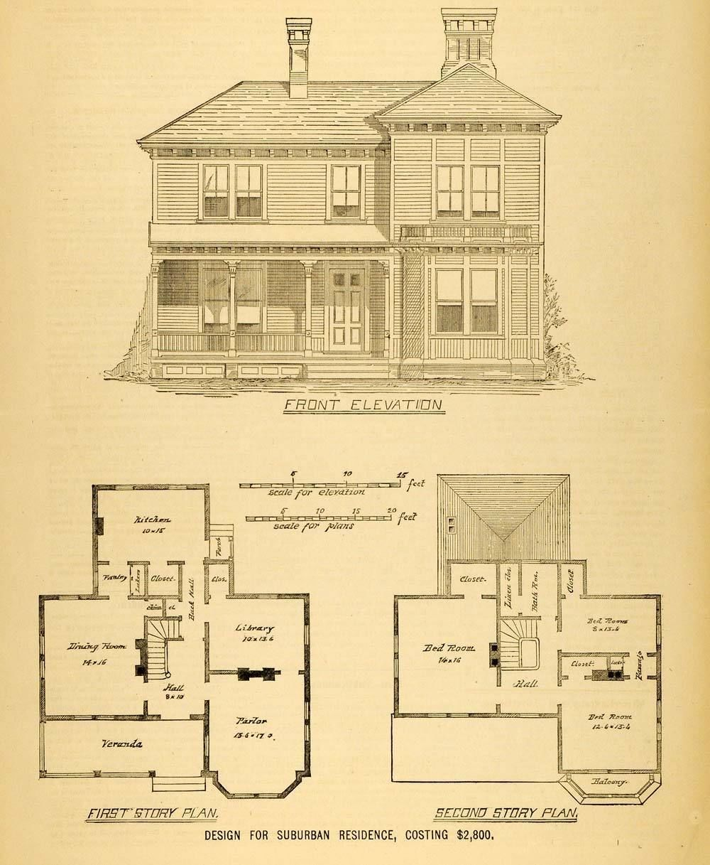 1878 print house architectural design floor plans victorian