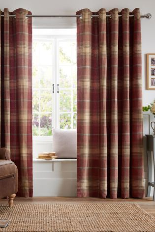 Buy Thermal Red Woven Check Stirling Eyelet Curtains From