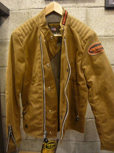 Vanson Leather Trophy Waxed Cotton Motorcycle Jacket Tan