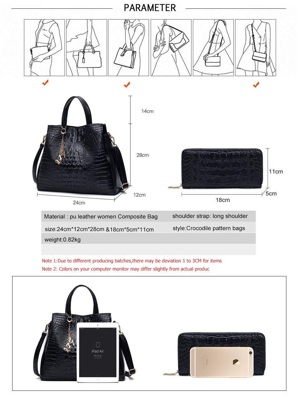 cd770dfe518d  43.08 - Nice Fashion PU Leather Women Crocodile Pattern Messenger bags Two Set  Purse and Handbags