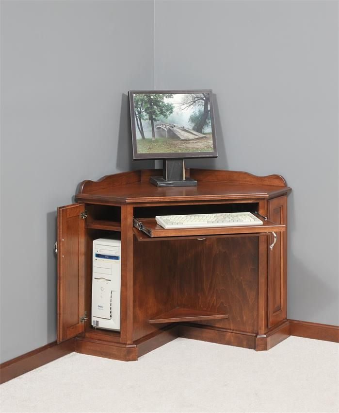 Amish Computer Secretary Desk Armoire Modesto Solid Wood: Corner Computer Armoire Furniture