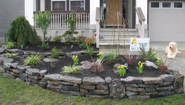 front yard landscape ideas with rock walls