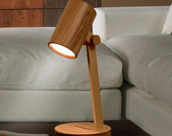 Handcrafted Wooden Original Boy And Desk Lamp Decorative Night Solid Wood Vintage