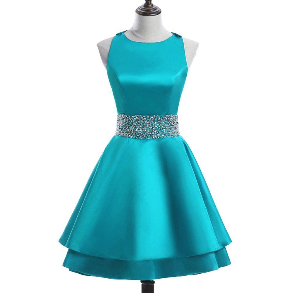 a4a184ff76f Meilishuo Womens Crew Beading Prom Dresses Short Sequiuned Homecoming  Dresses for Teens Mini Cocktail Dresses at Amazon Women s Clothing store