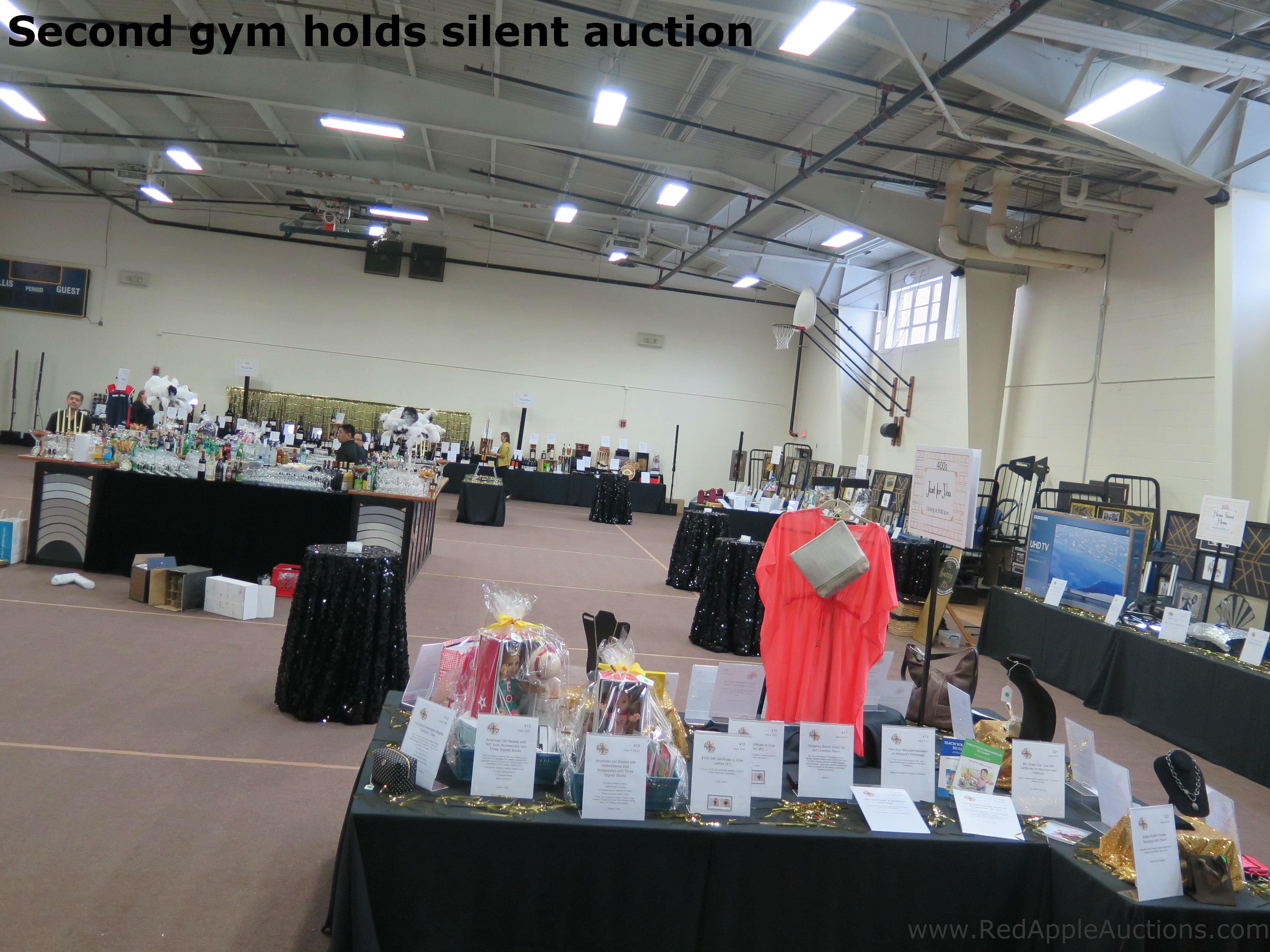 Private School Event Silent Auction Set Up In A Gym