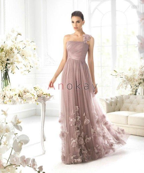 Eine Schulter Blumen Tüll Abendkleider PSL1305389 | Abendkleider ...