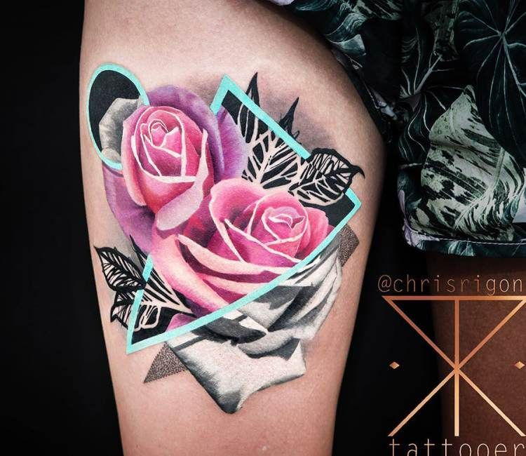 Teardrop Tattoo Placement: Pink Roses Tattoo By Chris Rigoni