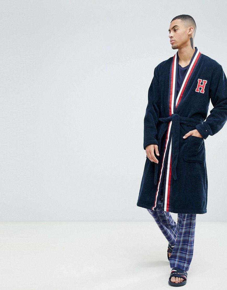 ed18a879328 TOMMY HILFIGER ROBE WITH H LOGO AND STRIPE SHAWL COLLAR IN NAVY - NAVY. # tommyhilfiger #cloth