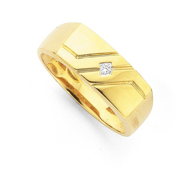 9ct Gold Diamond Set Rectangle Top Gents Ring