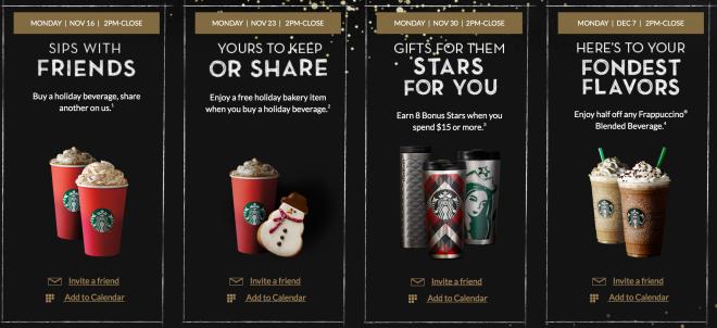 Starbucks Seasonal Drinks Calendar 2022.Rewards Ad Starbucks Holiday Drinks Flavors Starbucks