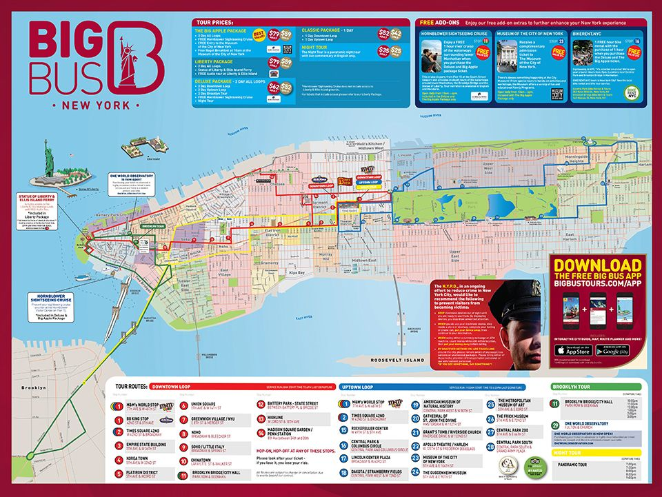 Afbeeldingsresultaat voor Big Bus Tour ny map | NYC | Ny map, Nyc