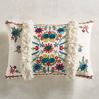 Embroidered Fiesta Floral Lumbar Pillow In 2019 Floral