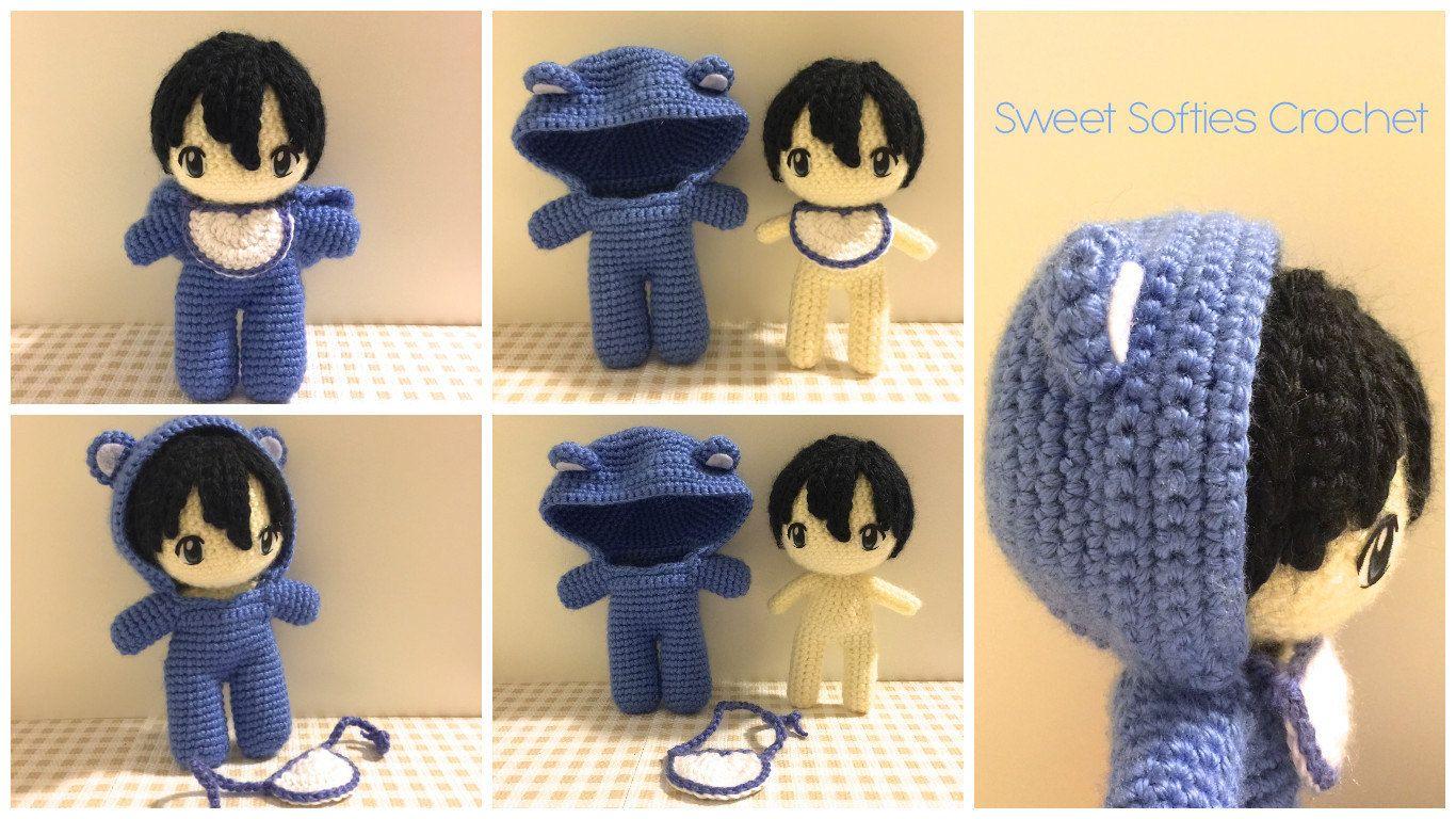 Amigurumi Doll Anime : Baby in bear onesie amigurumi crochet japanese anime doll