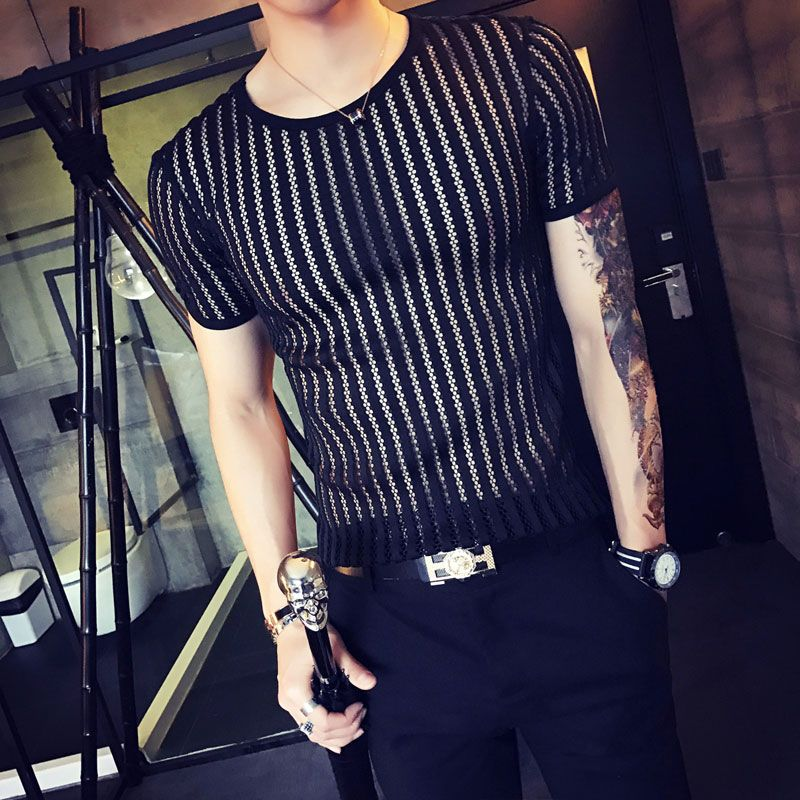 Free Shipping  Buy Best 2017 Sexy Mens Shirts White Night Club Outfits  Camisa Slim Fit Blouse Summer Top Transparent Tshirts Black See Through  Online with ... a2e3b31dafbc