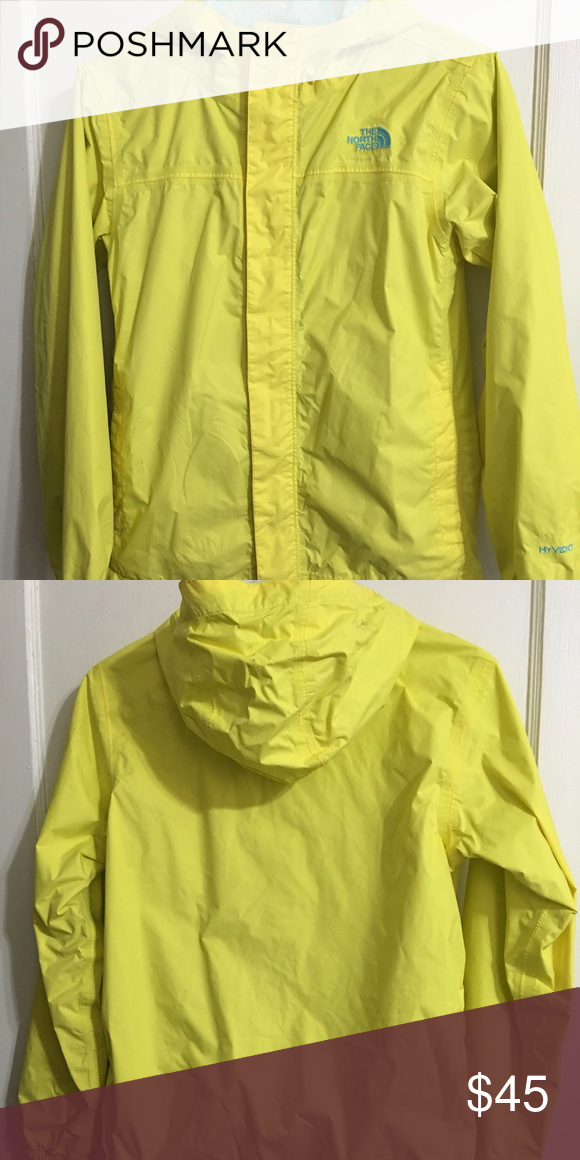 65190e257c North Face rain jacket yellow and blue North Fave rain jacket. girls large ( 14 16) but fits like women s small The North Face Jackets   Coats Raincoats
