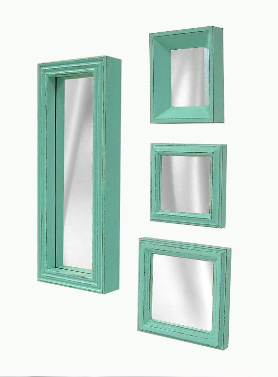 Shabby Chic Mirror Mirrors Set Minty by MountainCoveAntiques, $64.00 aqua turquoise