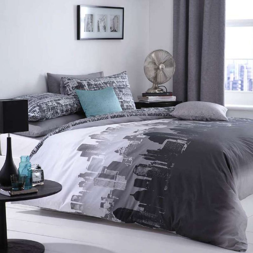 king size grey duvet cover u0026 2 pillowcases set city scape in home furniture u0026 diy bedding other bedding