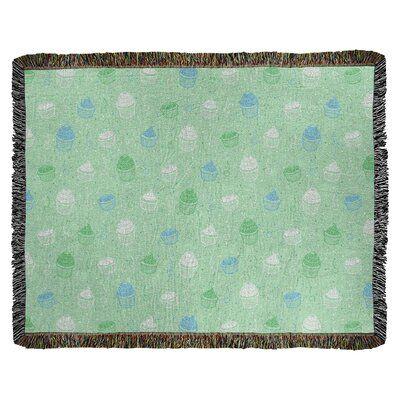 Ebern Designs Leffel Cupcake Woven Cotton Blanket Size 37 W X 52 L Color Green Blue Cotton Blankets Organic Cotton Blanket Cotton Weaving